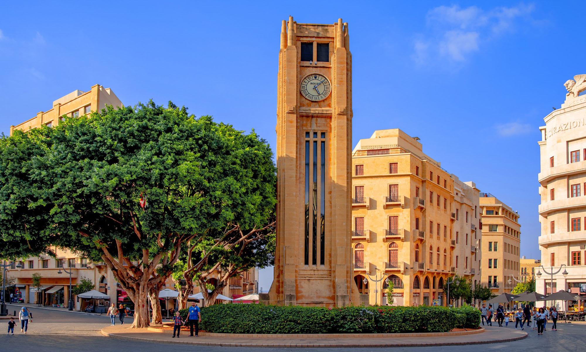 Libanon Beiroet Klokkentoren Place De L Etoile
