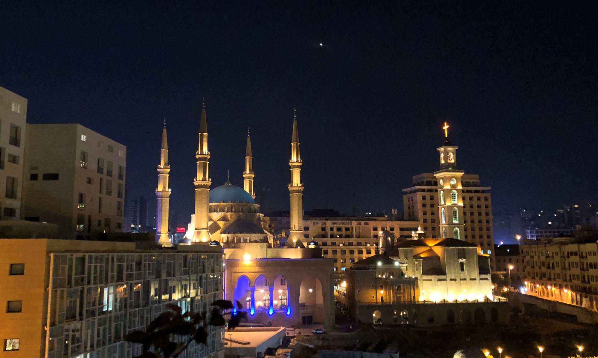 Libanon Beiroet Al Amin Moskee Avond