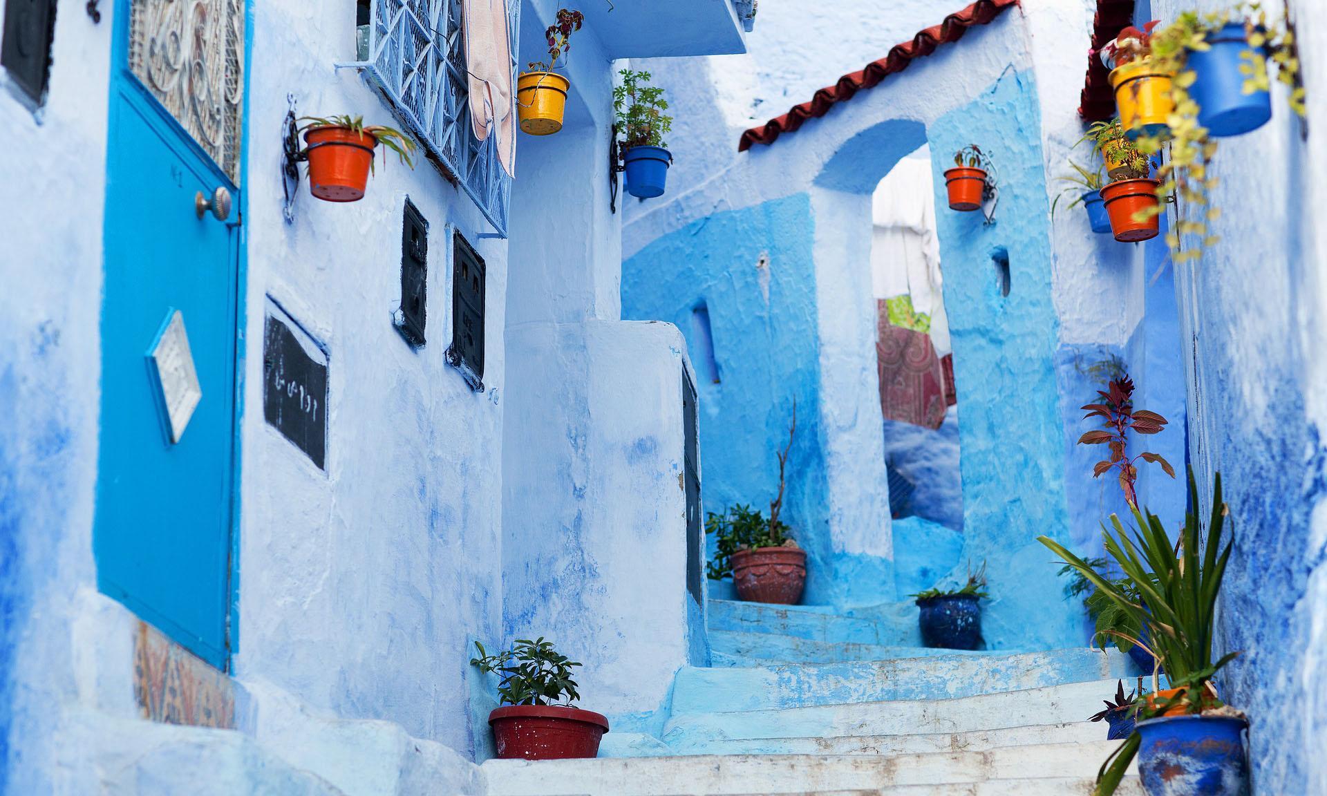 Marokko Chefchaouen Blauwe Straatjes