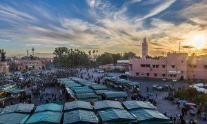 Marokko Marrakech Zonsondergang Djemaa El Fna
