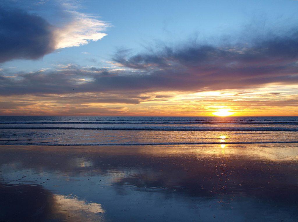 Agadir zonsondergang op het strand