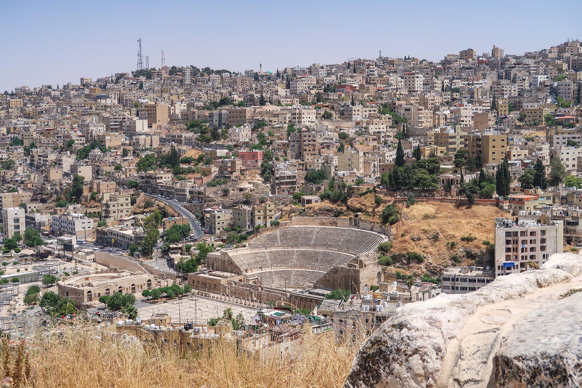 Amman Amfitheater Gezien Vanaf Citadel Hill