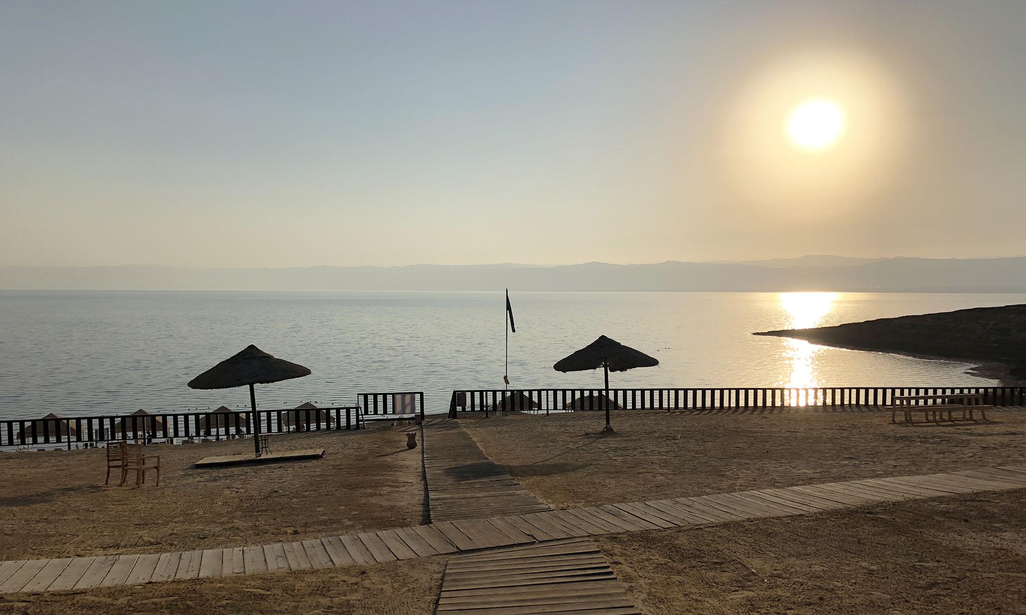 Jordanië Dode Zee Uitzicht Zonsondergang