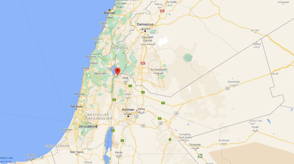 De ligging van El Himma nabij Syrië en Israël